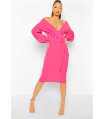 tall wikkel midi bodycon jurk met open schouders, warm roze