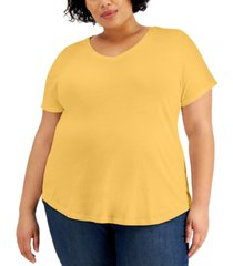 style & co plus size solid burnout t-shirt, created for macy's