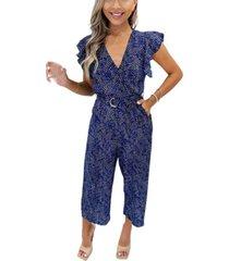 ax paris women's printed wrap jumpsuit