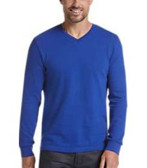 joe joseph abboud blue slim fit v-neck knit sweater