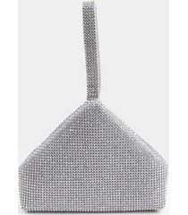 bethany triangular metal mesh clutch - silver