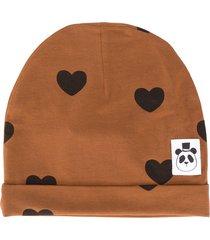 mini rodini heart-print hat - brown
