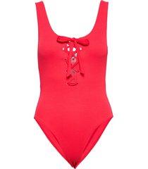 textured swimwear baddräkt badkläder röd ganni