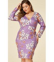 yoins plus talla morado estampado floral aleatorio cruzado frente vestido