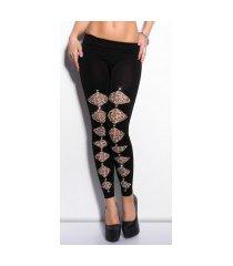 sexy leggings met luipaard-print en strass steentjes zwartgrijs
