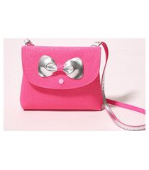 bolsa infantil laço com glitter pink