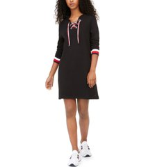 tommy hilfiger lace-up hoodie dress, created for macy's