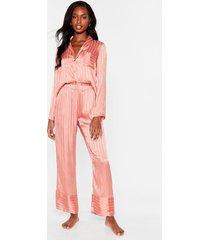 womens it's been a jacquard day satin pajama pants set - rose gold
