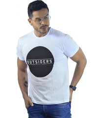 camiseta hombre manga corta slim fit blanco marfil outsiders