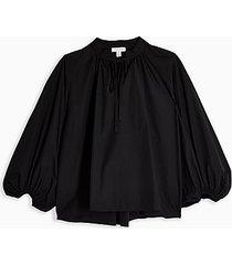 *black poplin smock top topshop boutique - black