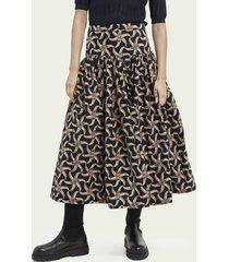 scotch & soda printed voluminous tiered skirt