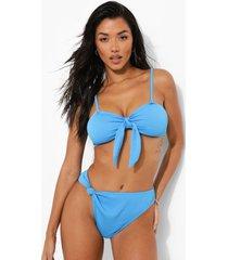 geribbelde bandeau bikini top met strik, blue