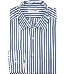 camicia da uomo su misura, grandi & rubinelli, blu riga medium natural stretch, quattro stagioni | lanieri