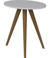 mesa de canto redonda 1006 retro branco - bentec