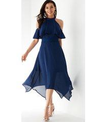 yoins azul marino gasa volante crochet encaje adornado vestido