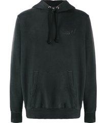 diesel treated distressed hoodie - black