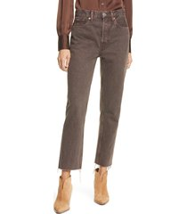 women's re/done originals high waist stove pipe jeans, size 30 - brown
