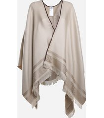 fendi reversible poncho in silk and cashmere with ff motif