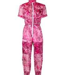 mr & mrs italy blossom camouflage-print tapered jumpsuit - pink