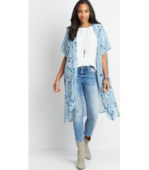 maurices womens light blue floral open front kimono