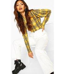 flannel crew neck puff sleeve top, mustard