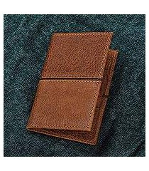 leather passport wallet, 'sleek style in brown' (mexico)