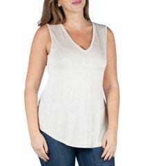24seven comfort apparel women's plus size v-neck sleeveless rounded hemline top