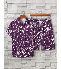 koyye conjunto de pijama de manga corta con estampado integral para hombre