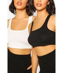 2 pack square neck racer crop top