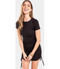 alix ruched mini dress - black