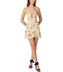 b darlin juniors' floral-print knot-front ruffled dress