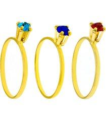 kit 3pçs anel horus import pedras dourado