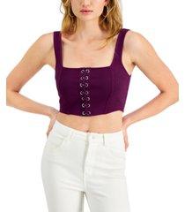 guess teyana lace-up corset tank top