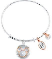 disney mickey mouse shaker charm bangle bracelet in two-tone stainless steel