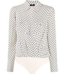 elisabetta franchi graphic-print shirt bodysuit - neutrals