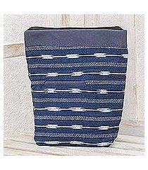 cotton blend travel bag, 'indigo simplicity' (guatemala)