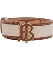 tb leather print logo belt