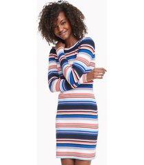 tommy hilfiger women's essential ribbed stripe dress masters navy multi - xxs