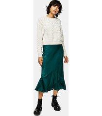 tall emerald green satin flounce midi skirt - dark green