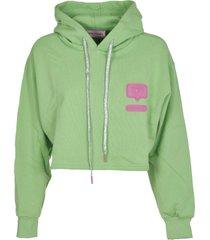 chiara ferragni green eyelike patch hoodie