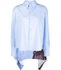 mm6 maison margiela cape-effect poplin shirt - blue