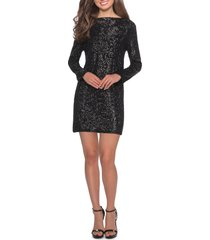 women's la femme long sleeve sequin cocktail dress, size 4 - black