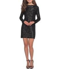 women's la femme long sleeve sequin cocktail dress, size 10 - black