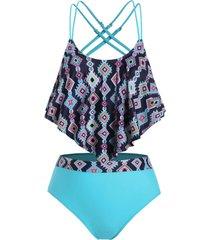plus size geometry ruffled overlay tankini swimwear