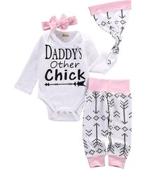 4pcs/daddy's other chick romper+ pants+ hat+ribbon outfit for newborns