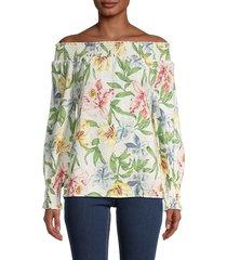 patrizia luca women's mix floral-print off-the-shoulder top - off white - size s