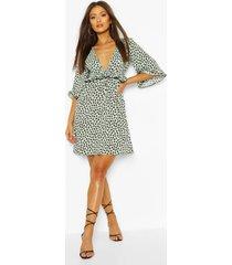 ruffle detail smock dress in dalmatian print, mint