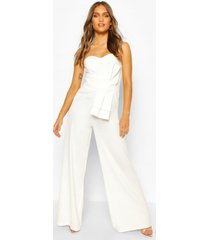 boohoo occasion bandeau bow culotte jumpsuit, ivory
