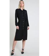 vestido chemise feminino midi com fenda e faixa manga longa preto