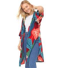 kimono mercatto estampado verde/vermelho - verde - feminino - viscose - dafiti